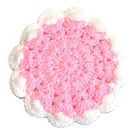 Handmade Vintage Pink  White Crocheted Yarn Pot Holder Trivet