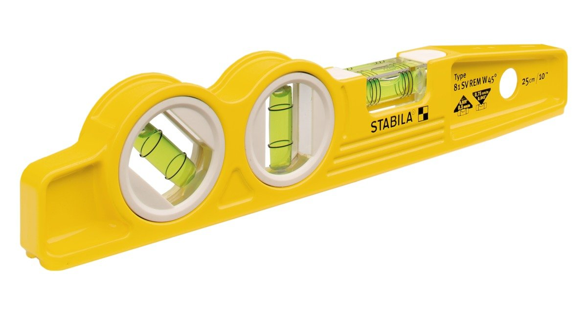 Stabila 25245 Die Cast Magnetic Torpedo with 45 degree vial and V groove frame