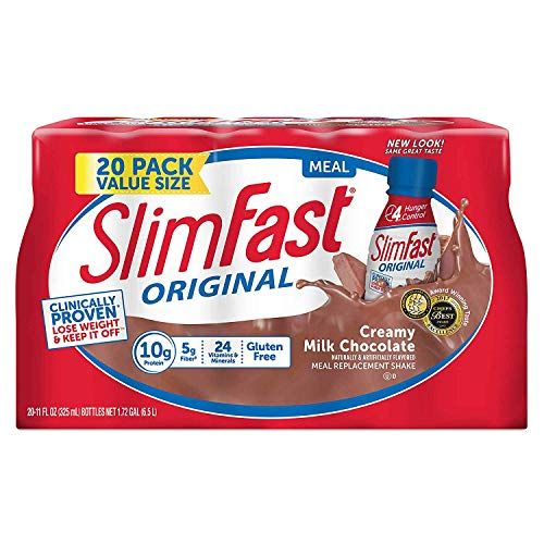 SlimFast Creamy Milk Chocolate Meal Replacement Shakes with High Protein, 20 pk./11 oz.ES