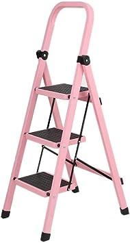 Taburete Plegable Taburete de 3 peldaños, Escalera de acero portátil for escalones, Escalera multiusos liviana con antideslizante, Rosa: Amazon.es: Bricolaje y herramientas