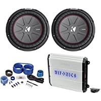 2 Kicker CompRT10 CWRT10-1 2000w 10 Slim Subwoofers+Hifonics Amplifier+Amp Kit