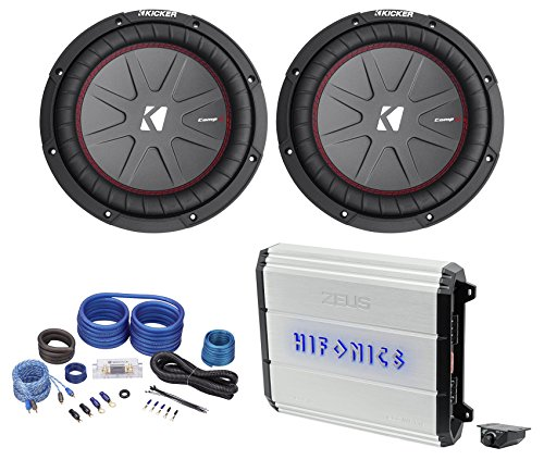 "2) Kicker CompR10 CWR10-4 1200w 10"" Comp R Subwoofers+Hifonics Amplifier+Amp Kit"