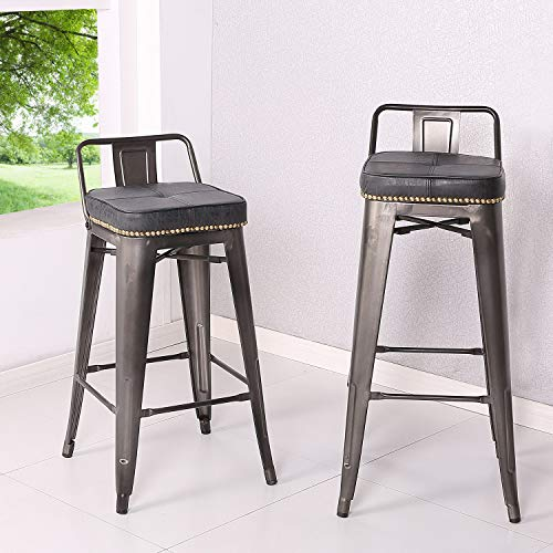 New Pacific Direct 9300032-240 Metropolis PU Leather Low Back Counter, Set of 4 Bar & Counter Stools, Vintage Black
