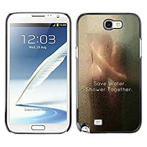 FlareStar Colour Printing Love Save Water Cute Clever Shower Sexy cáscara Funda Case Caso de plástico para SAMSUNG Galaxy Note 2 II / N7100