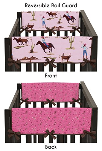 (Sweet Jojo Designs 2-Piece Western Cowgirl Teething Protector Cover Wrap Baby Girls Crib Side Rail Guards )