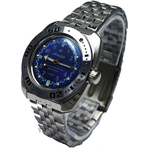 Vostok Amphibian 710440/2416b Russian Military Watch Auto Divers 200m Scuba Blue (Vostok Watch Blue)