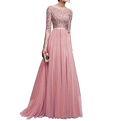 c138934555a2 Amazon.com: Wedding Bridesmaid Long Dress,Vanvler Women Chiffon Lace Dress    Maxi Gown Dress Elegant Evening Prom (S, Pink): Appliances