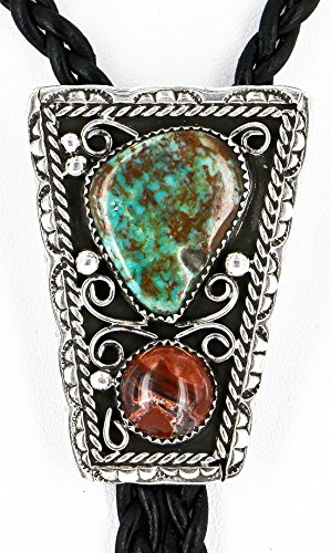 Handmade Certified Authentic Navajo .925 Sterling Silver Natural Turquoise Jasper Native American Bolo Tie