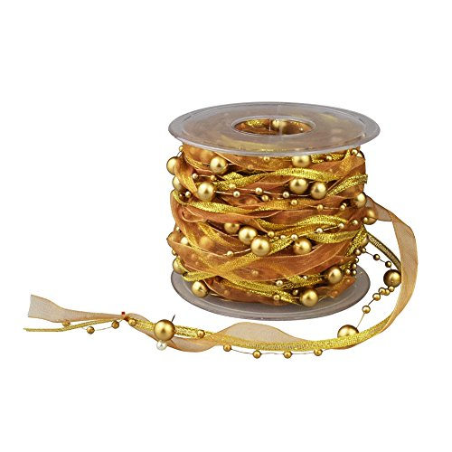 - Fowod 3 Strings Beaded Ribbon, Pearl String, Satin Ribbon and Organza Ribbon, 33 Feet, Gold