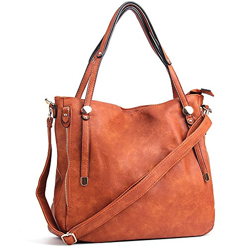 WISHESGEM Women Handbags PU Leather Tote Shoulder Bags Satchel Zipper Cross Body Bags Brown (Tote Bag Leather Shoulder)
