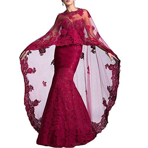 Kristall Applikationen Spitze Frauen Umhang abnehmbarem abwedding Rot Meerjungfrau Kleider Hochzeit Abend g0xAw6q