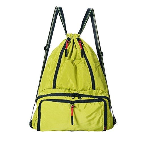 ckpack Lightweight Foldable Waterproof Sports Gym Sackpack Bag Yellow ()