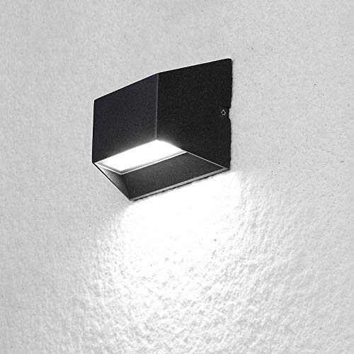 LUMINTURS 6W LED Outdoor/Indoor External Wall Sconces Light Waterproof Fixture Door Gate Step Stair Surface Mount Lamp Black Pure White