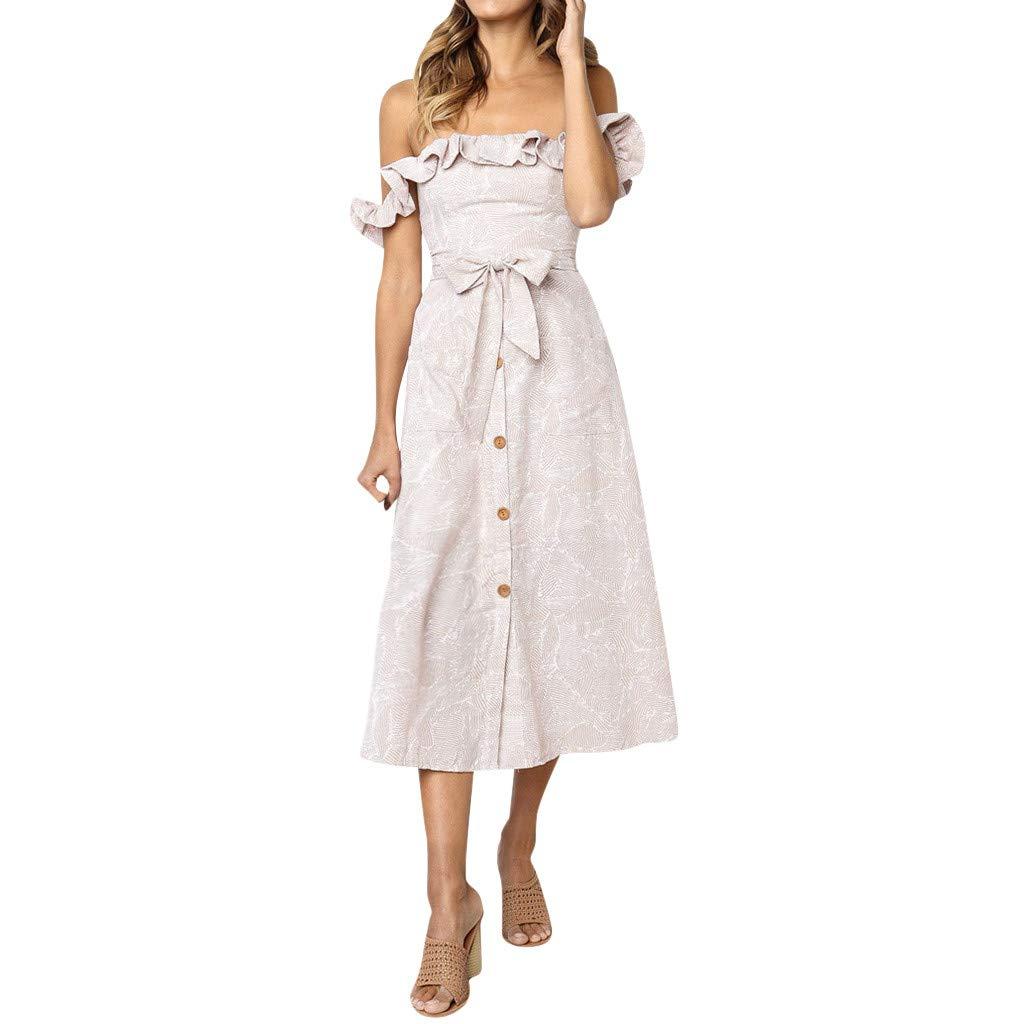 〓COOlCCI〓Women's Sleeveless Off Shoulder Ruffles Midi Long Dress Floral Print Tie Waist Maxi Dress with Pocket Pink