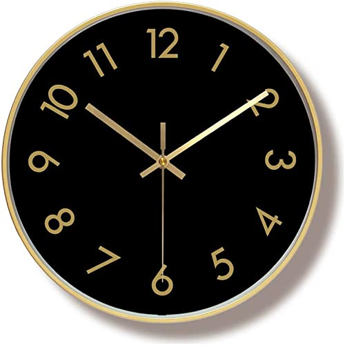 Foyou 12 Inch Silent Metal Frame Decorative Wall Clock Battery Operated Non Ticking for Living Room, Bedroom, Office 5