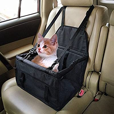 Henweit Car Booster Seat Carrier for Dog Folding Pet Cat Car Travel Safety Seat Belt Harness Cover Pet Traveling Carrier Bag Portable with Clip-On Safety Leash and Zipper Storage Pocket