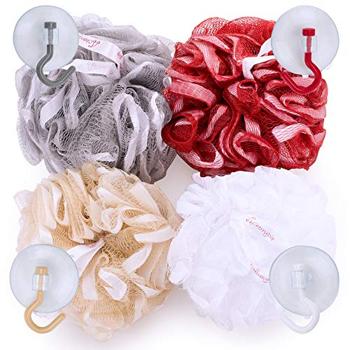 Bath Sponges for Women 4 Natural Soft Bath Loofahs for Baby + Matching Suction Hooks + Storage Bag   Shower Loofah Gift Set By CherryDip