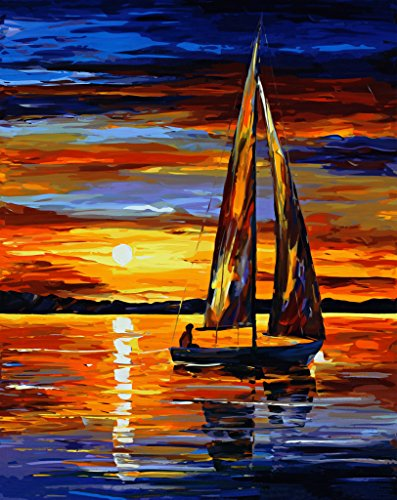 Version 3.0 HD Paint By Number Kits for Adults PBN Kit Paintworks Digital Diy Oil Painting Canvas Kits for Children Kids Beginner White Christmas Decorations Gifts - Sunset Harbor (N1, Framed)