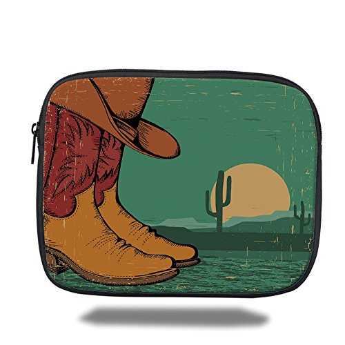 iPrint iPad Bag,Western,Desert Landscape Vintage Boots and Hat Grungy Old Display Cowboy Decorative,Jade Green Ruby Earth Yellow,Bag