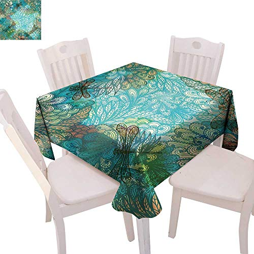 Raymond Square Print (cobeDecor Dragonfly Stain Resistant Wrinkle Tablecloth Fantasy Flowers Mixed in Various Tones Shabby Chic Feminine Beauty Print Square Wrinkle Resistant Tablecloth 54