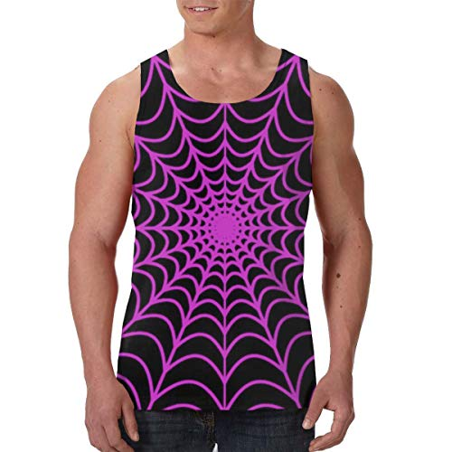 BLACK SP Mens Print Graphic Tank Tops Spider Web Sports Workout Tees ()