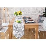America Rural Style Table Runner/Flag - Linen Cotton White Leaves Dining Table Decor 12 x 87 Inch