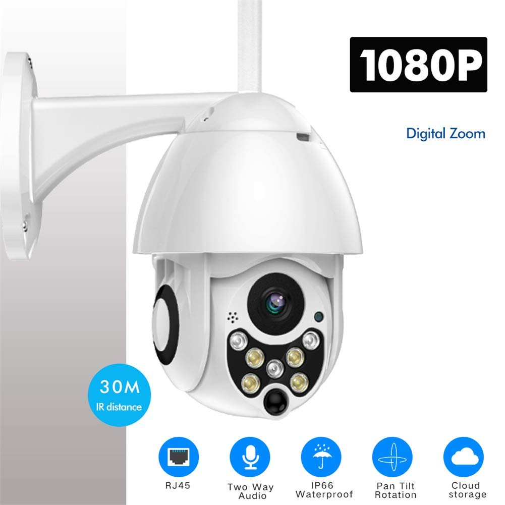 Outdoor 1080P PTZ WiFi Security Camera, Wireless Pan Tilt Zoom Surveillance CCTV IP Weatherproof Camera with Two Way Audio Night Vision Motion Detection by ankt777