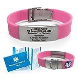 #8: Silicone Sport Medical Alert ID Bracelet - Pink (Incl. 5 lines of custom engraving). Choose Your Color! -