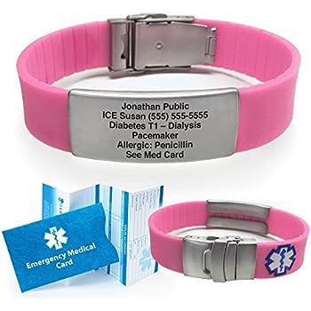 Silicone Sport Medical Alert ID Bracelet - Pink (Incl. 5 lines of custom engraving). Choose Your Color! -