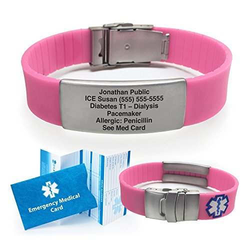Silicone Sport Medical Alert ID Bracelet (Incl. 5 Lines of Custom Engraving). Choose Your Color! - (Pink)