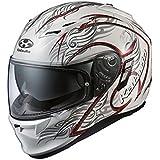 オージーケーカブト(OGK KABUTO)バイクヘルメット フルフェイス KAMUI2 TRIRUG (トライラグ) パールホワイトレッド (サイズ:L)
