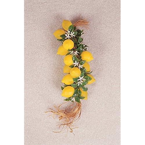 50cm Guirnalda con 20Limones con flores de plástico–Fruta Deko falsa, alimentos imitación Plátano, Fake Food, decorar falsa, Idea verano, Theater requisite