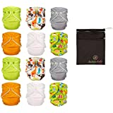 FuzziBunz® First Year Adjustable Cloth Diapers 12 Pack Gender Neutral Colors with Dainty Baby Wet Bag Bundle, Colors May Vary