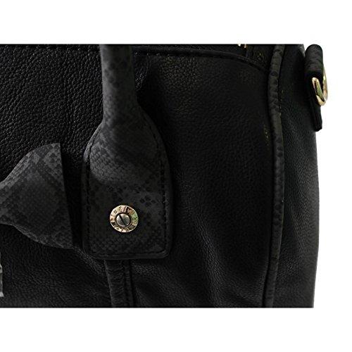 BLUGIRL BLUMARINE Damen Handtasche in Schwarz mit Schlangenoptik Schwarz R5BS2mU