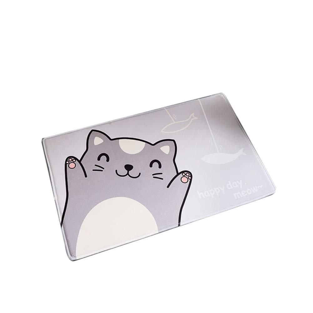 Smartcoco Cartoon Smile Cat Flannel Non-Slip Foot Pad Carpet for Bathroom Living Room Kitchen Bedroom, 15.7'' x 23.6''