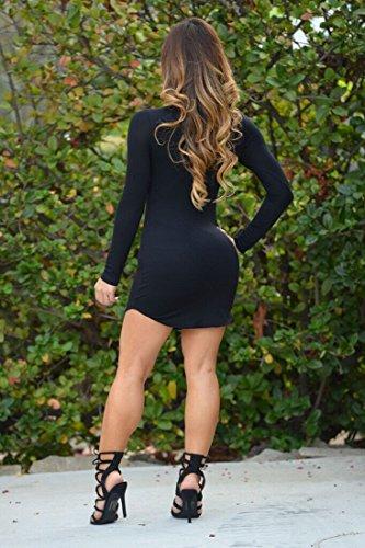 QIYUN.Z Mujeres Bodycon Vestido Corto De Manga Larga De Partido Atractivo De Base Irregular Del Dobladillo De Mini Negro