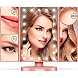 Espejo de Maquillaje - 10X/3X/2X/1X espejo de maquillaje con 22 luz led Tríptico Plegable con Pantalla Táctil Rotación de 180º y Aumentos 1x, 2x, 3x,10x Plegable Espejos Cosmético para Belleza(Rose Gold)