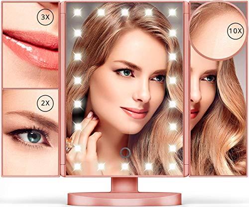 Espejo de Maquillaje - 10X/3X/2X/1X espejo de maquillaje con 22 luz led Tríptico Plegable con Pantalla Táctil Rotación de...