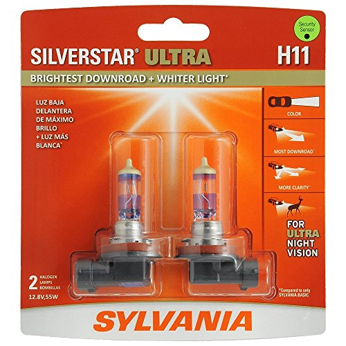 SYLVANIA H11 SilverStar Ultra High Performance Halogen Headlight Bulb, (Contains 2 Bulbs)