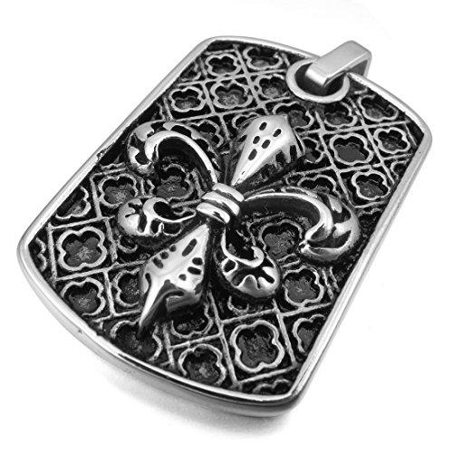 INBLUE Men's Stainless Steel Pendant Necklace Silver Tone Knight Fleur De Lis Cross -With 23 Inch Chain
