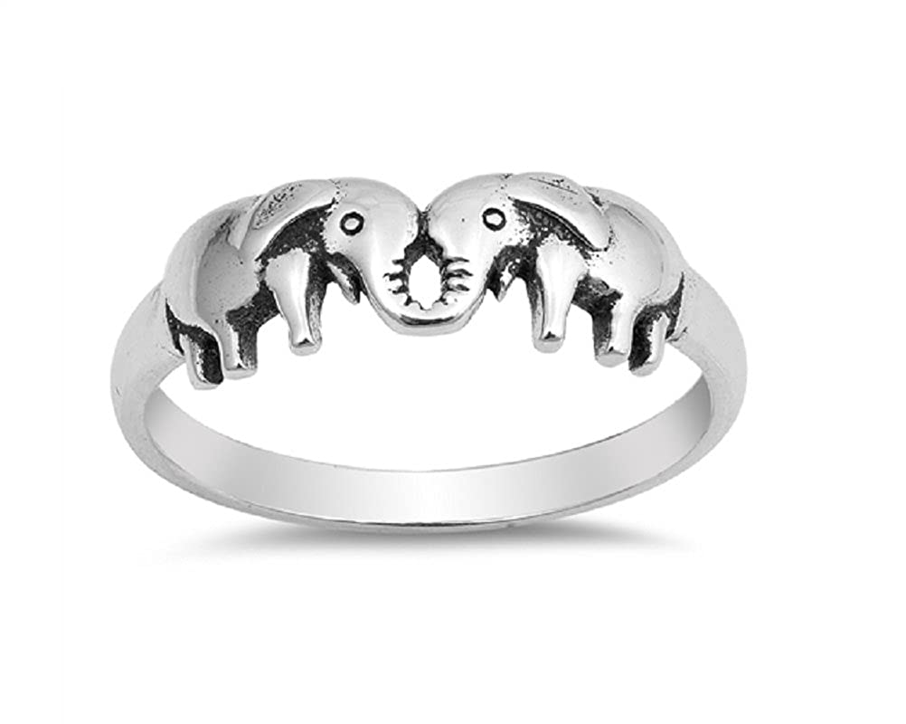 Princess Kylie Rhodium Plated Sterling Silver Together Forever Elephants Ring