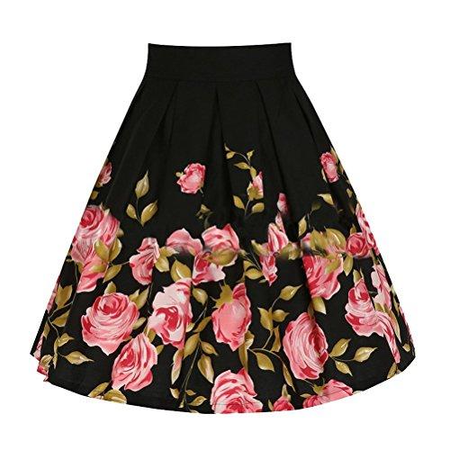 Ghope Jupe Longue Classique Taille Haute - Jupe Rétro années 50 - A-Line Jupe au Genou - Jupe Noir Imprimé Fleurs Rouge