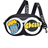 Novelty Graffiti Glasses Case Style Women's Messenger Bag, PU lambskin, Sport Wide Ribbon Shoulder Strap (Cheer)
