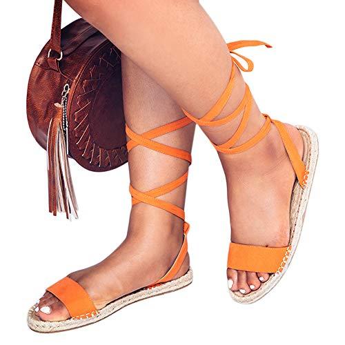 Sandals Womens Holiday (Platform Espadrille Sandals Orange Strappy Espadrilles Flats Lace up Open Toe Sandal Holiday Shoes)