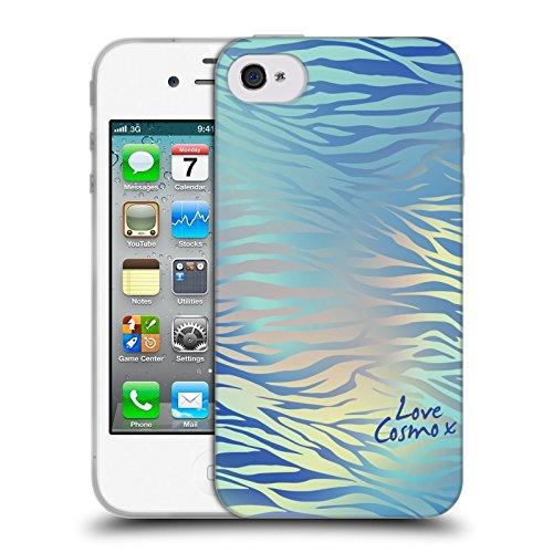 Official Cosmopolitan Shiny Zebra Iridescence Soft Gel Case for Apple iPhone 4 / 4S