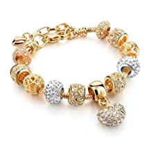 Capital Charms - Crystal Heart of Gold Charm Bracelet - Gold Fashion Charm Bracelet for Girls and Women with Charms and Bonus Gift Box