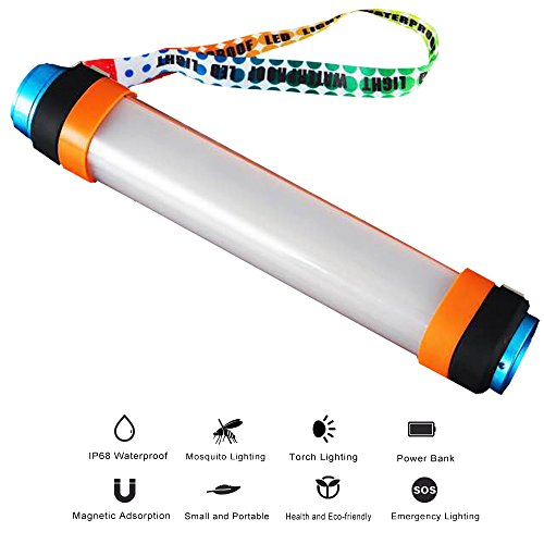 M6 Led Lithium Flashlight (Camping Lantern, Portable Waterproof Outdoor Emergency Magnet Tent Light, Rechargeable 6Mode Handheld LED Flashlight SOS with 5200mAh Battery, USB Charging Function for Camping Hiking Fishing Riding)