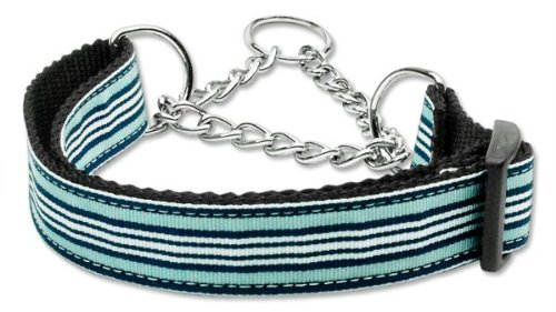 Mirage Pet Products Martingale Preppy Stripes Nylon Ribbon Collars, Large, Light Blue/White by Mirage Pet Products