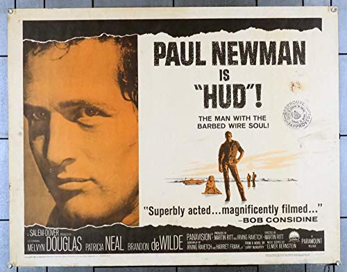 Hud (1963) Original U.S. Half-Sheet Movie Poster (22x28) Rolled Good, theater-used, condition. PAUL NEWMAN PATRICIA NEAL MELVYN DOUGLAS BRANDON DE WILDE Film directed by MARTIN RITT