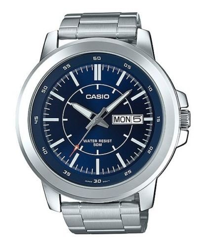 Casio MTP-X100D-2EV Men's Stainless Steel Watch, Day/Date (Large) Blue (Seconds Date Day Month)